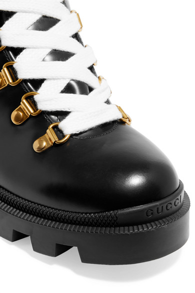 Gucci | Grosgrain-trimmed leather ankle boots | NET-A-PORTER COM