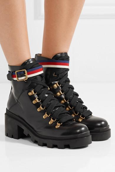 f68c4b28c Gucci | Grosgrain-trimmed leather ankle boots | NET-A-PORTER.COM