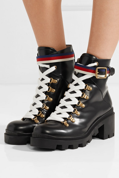 84a8229ff24 Gucci | Grosgrain-trimmed leather ankle boots | NET-A-PORTER.COM