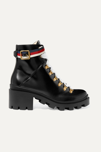 2ee5ee02cec0 Gucci. Grosgrain-trimmed leather ankle boots