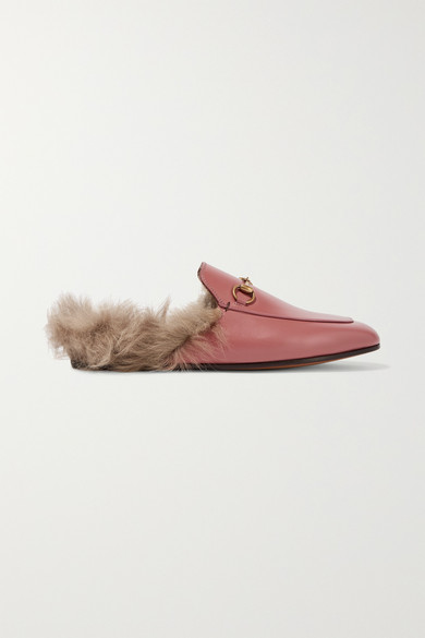 Princetown Horsebit Detailed Shearling Lined Leather Slippers by Gucci