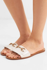 Varadero horsebit-detailed fringed leather slides