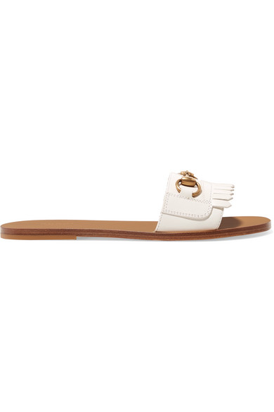 Varadero Horsebit-Detailed Fringed Leather Slides in Neutrals