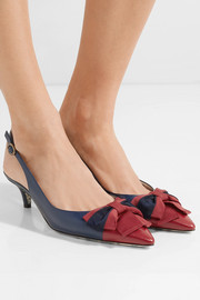 Gucci Sackville bow-embellished two-tone textured-leather slingback pumps
