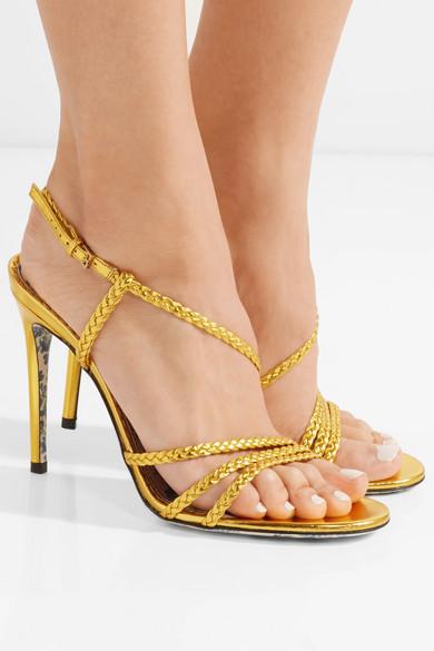 657f4f895f99 Braided metallic leather slingback sandals