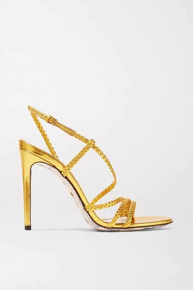 4ab8a6dce988 Gucci. Braided metallic leather slingback sandals