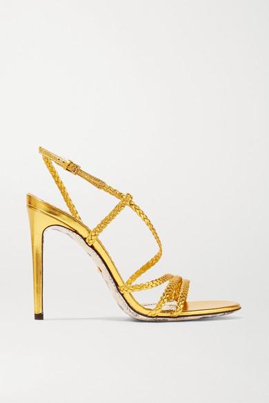 3610309fa994 Gucci. Braided metallic leather slingback sandals