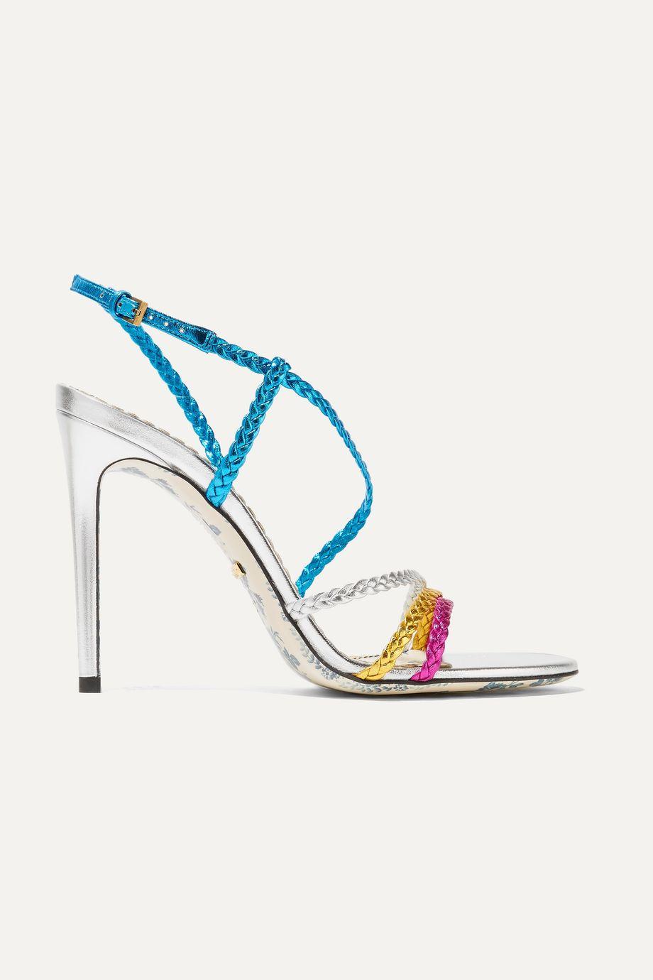 Gucci Braided metallic leather slingback sandals