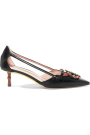 Gucci Unia logo-embellished leather pumps