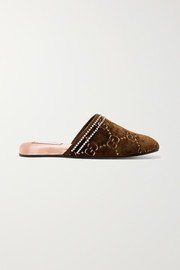 Gucci Rogue embellished logo-jacquard slippers