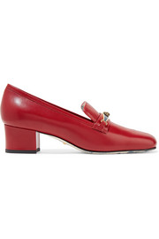 Gucci Ginger embellished two-tone textured-leather pumps