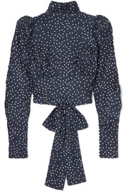 Noto open-back polka-dot silk-satin jacquard blouse