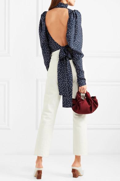 Magda Butrym Noto Bluse aus glänzendem Seiden-Jacquard mit Polka-Dots und Rückenausschnitt