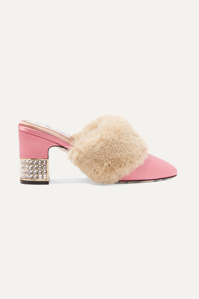 c2bb8eb27 Gucci | Candy embellished satin and faux fur mules | NET-A-PORTER.COM