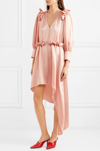 Magda Butrym Tarragona asymmetrisches Kleid aus Seidensatin mit Rüschen