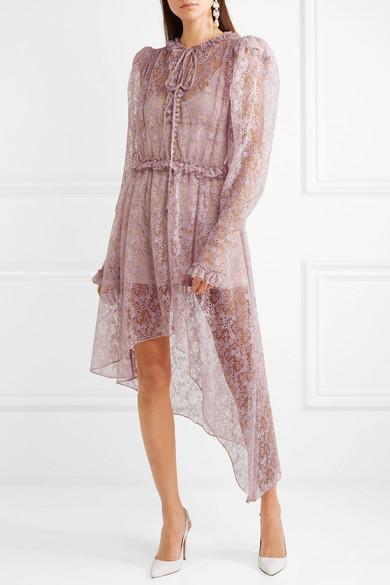 Clearance Classic Morelia Asymmetric Ruffled Silk-lace Dress - Lilac Magda Butrym Cheap Sale Affordable Buy Cheap 2018 Unisex New Arrival ft1cM8TA
