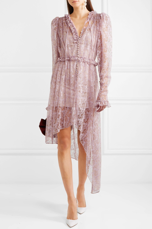 Magda Butrym Morelia asymmetric ruffled silk-lace dress