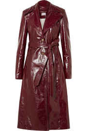 Indiana patent textured-leather trench coat