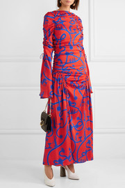 Rocket Woman printed stretch-silk gown