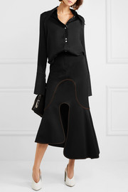 Orbit asymmetric crepe midi skirt