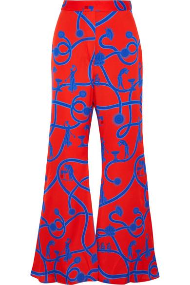 Speed Of Light Printed Silk-blend Flared Pants - UK12 Ellery QSRzny2Vrb