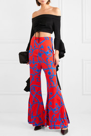 Speed Of Light printed silk-blend flared pants