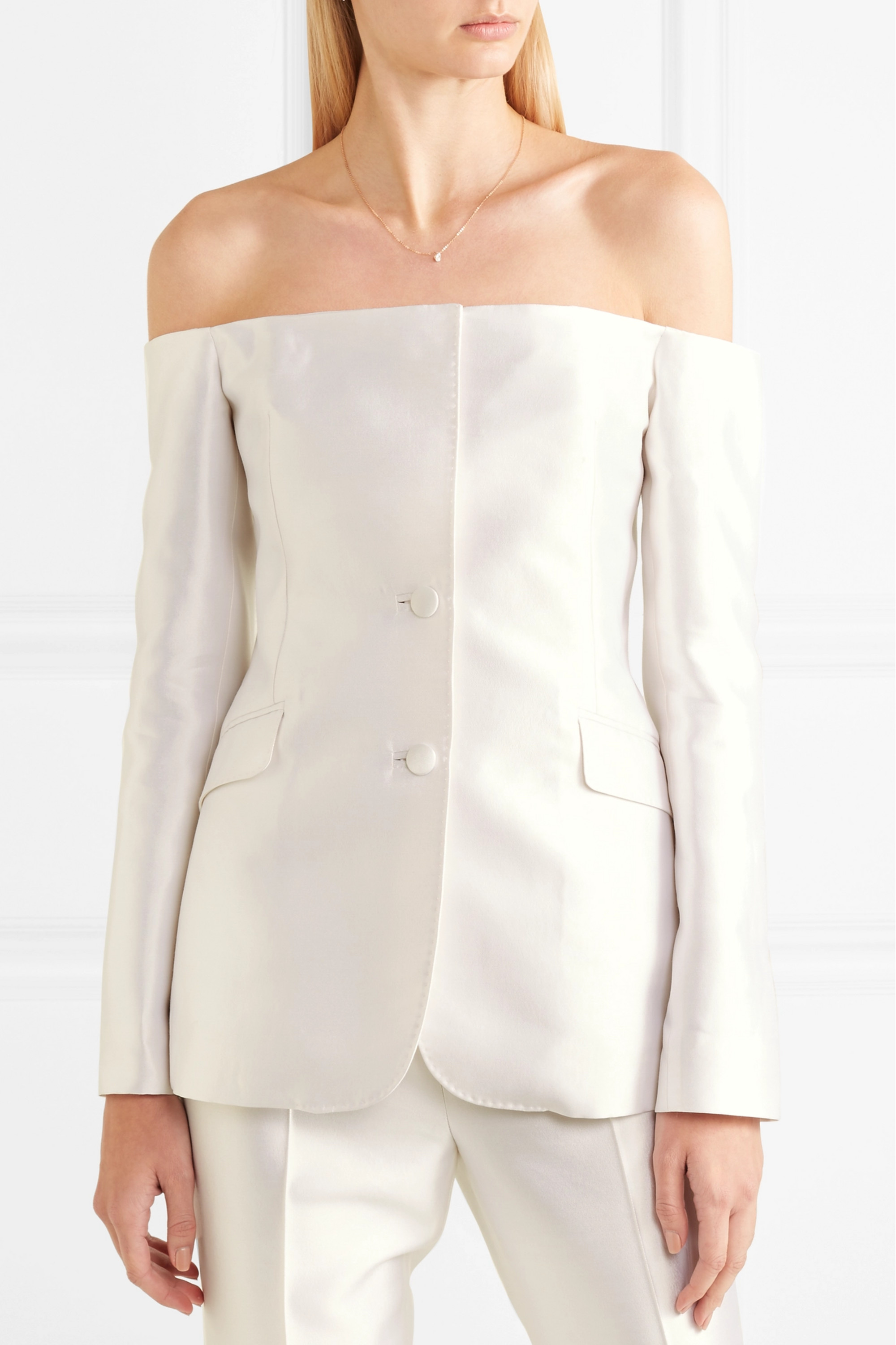 Gabriela Hearst Dorothea off-the-shoulder silk and wool-blend blazer