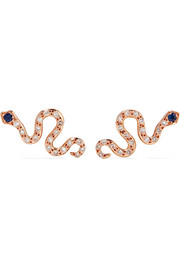 Little Snake 18-karat rose gold, diamond and sapphire earrings
