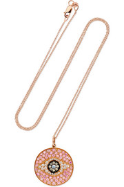 Dawn 18-karat rose gold, diamond and sapphire necklace