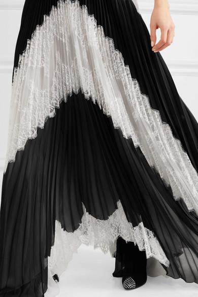 Givenchy Robe aus Georgette aus einer Seidenmischung mit Plissee und Spitze