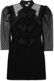 Givenchy Bow-embellished Swiss-dot tulle and wool-crepe mini dress