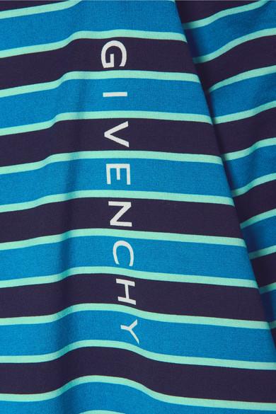 Givenchy Bedrucktes Oberteil aus gestreiftem Baumwoll-Jersey mit Twill-Besatz
