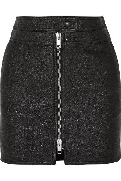 Givenchy Minirock aus strukturiertem Metallic-Leder
