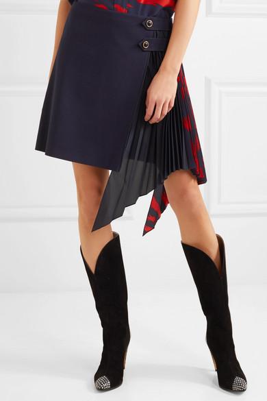 Givenchy Minirock aus Wolle mit plissiertem Georgette-Einsatz