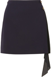Givenchy Pleated georgette-paneled wool mini skirt