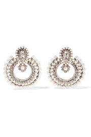 Etro Silver-plated, crystal and faux pearl earrings