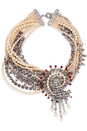 Etro Silver-plated, crystal and faux pearl necklace