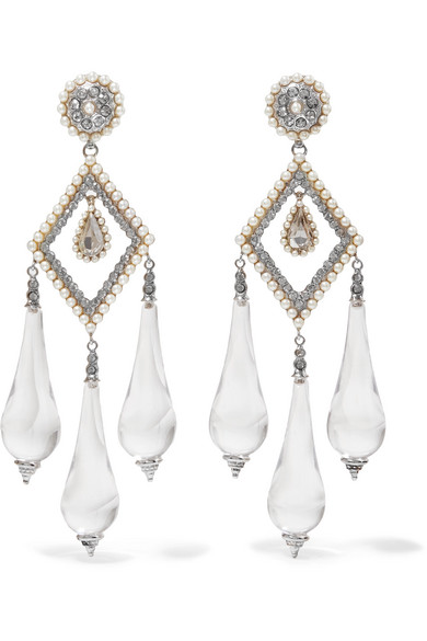 Etro - Silver-plated, Glass, Faux Pearl And Crystal Earrings