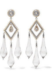 Etro Silver-plated, glass, faux pearl and crystal earrings