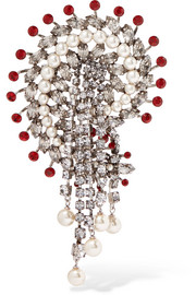 Etro Silver-plated, crystal and faux pearl brooch