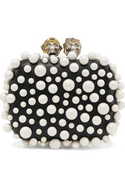 Alexander McQueen Queen & King faux pearl-embellished leather clutch