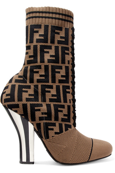 Logo Jacquard Stretch Knit And Mesh Sock Boots by Fendi