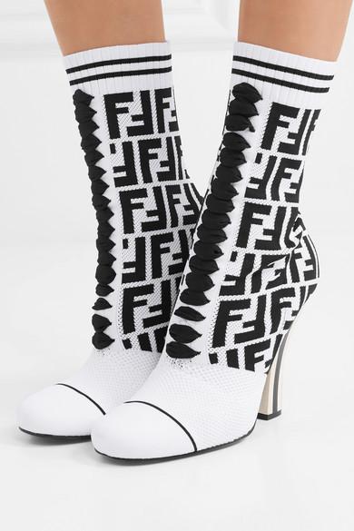 Fendi Stretch-Strick | Sock Boots aus Stretch-Strick Fendi und Mesh mit Logomuster a42919