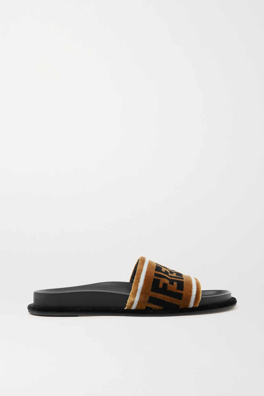 Fendi 品牌标志印花天鹅绒拖鞋