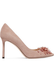 Romy 85 embellished suede pumps