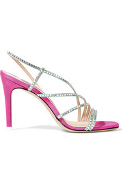 Attico Baby crystal-embellished moire slingback sandals