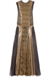 Embellished georgette and lamé maxi dress