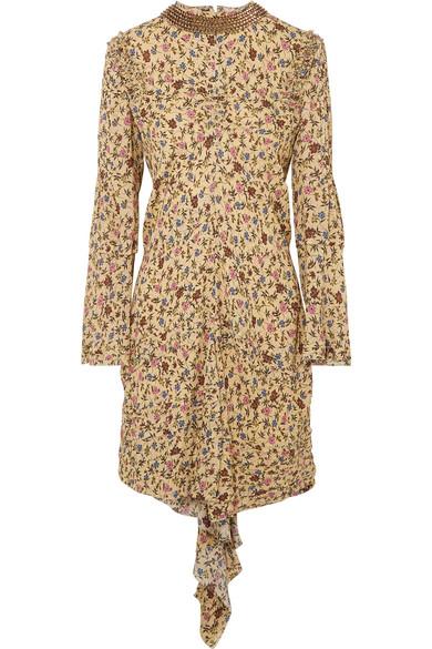 Chloé Verziertes Minikleid aus Georgette mit Blumenprint und Rüschen