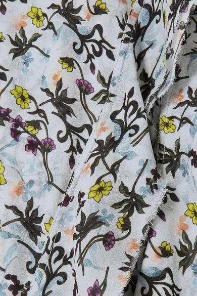 Chloé Floral bedrucktes Midikleid aus Georgette mit Falten