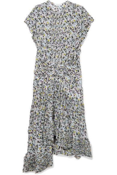 Ruffle-trimmed Pleated Floral-print Georgette Midi Dress - Blue Chloé Collections For Sale Release Dates For Sale Cheap Eastbay Cheap Sale Discounts Buy Cheap Authentic 4agvcGksz
